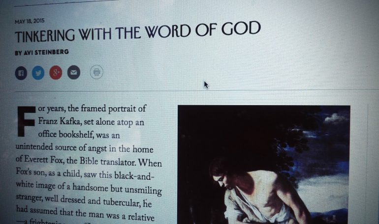 The New Yorker on Everett Fox and Bible Translation
